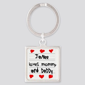 Janee Loves Mommy and Daddy Square Keychain