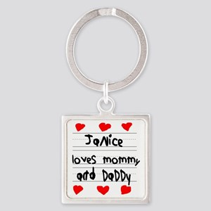 Janice Loves Mommy and Daddy Square Keychain