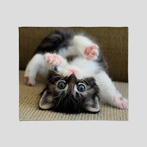 Goofy Kitten Throw Blanket