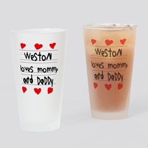 Weston Loves Mommy and Daddy Drinking Glass