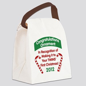 Twins First Xmas Canvas Lunch Bag