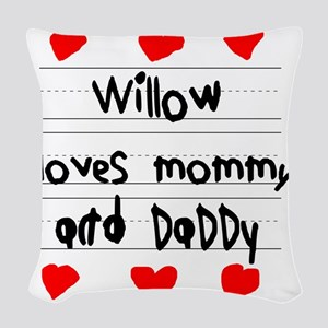 Willow Loves Mommy and Daddy Woven Throw Pillow