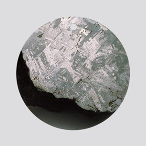 Sectioned iron meteorite Round Ornament