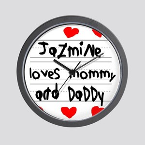 Jazmine Loves Mommy and Daddy Wall Clock