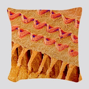 Sensory hair cells in ear, SEM Woven Throw Pillow