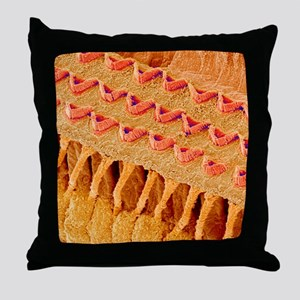 Sensory hair cells in ear, SEM Throw Pillow