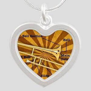 Trombone Silver Heart Necklace