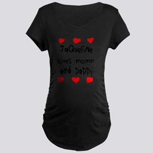 Jaqueline Loves Mommy and D Maternity Dark T-Shirt