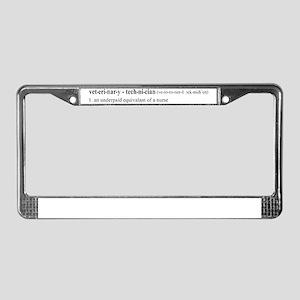 Vet Tech Definition License Plate Frame