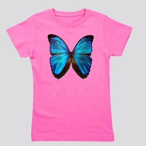 blue butterfly two Girl's Tee