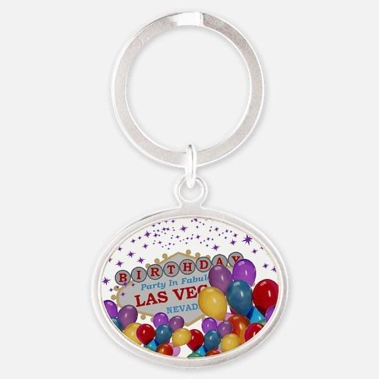 Floating Balloons Las Vegas Birthday Oval Keychain