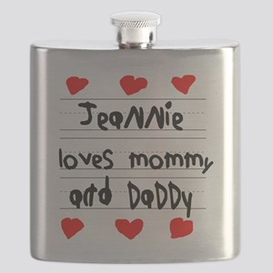 Jeannie Loves Mommy and Daddy Flask