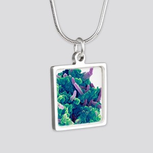 Bacteria infecting a macro Silver Square Necklace