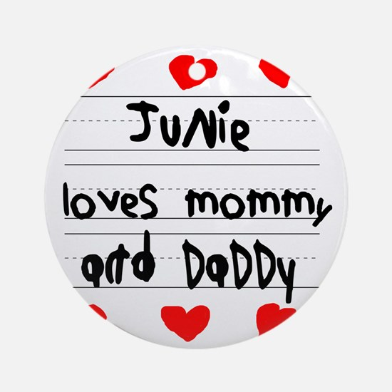 Junie Loves Mommy and Daddy Round Ornament
