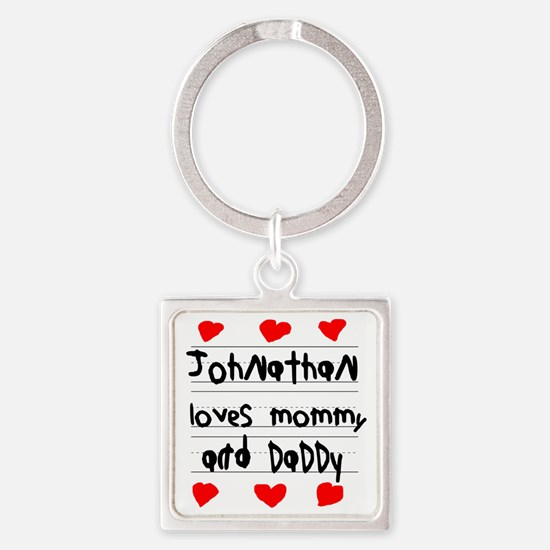 Johnathan Loves Mommy and Daddy Square Keychain
