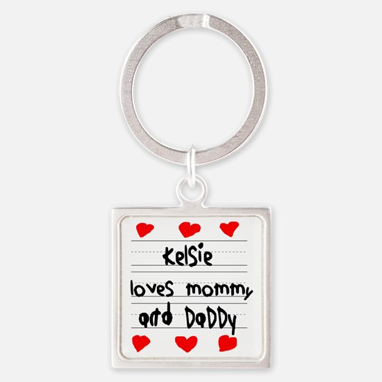 Kelsie Loves Mommy and Daddy Square Keychain