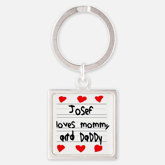 Josef Loves Mommy and Daddy Square Keychain