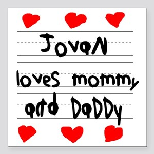 """Jovan Loves Mommy and Da Square Car Magnet 3"""" x 3"""""""