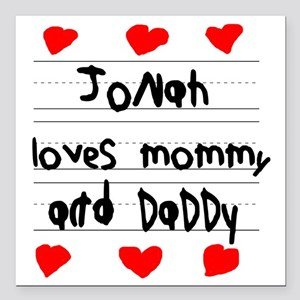 "Jonah Loves Mommy and Da Square Car Magnet 3"" x 3"""