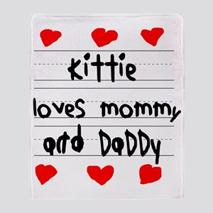Kittie Loves Mommy and Daddy Throw Blanket