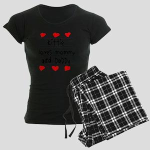 Kittie Loves Mommy and Daddy Women's Dark Pajamas