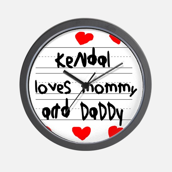 Kendal Loves Mommy and Daddy Wall Clock