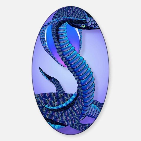 A Big Blue Snake Sticker (Oval)