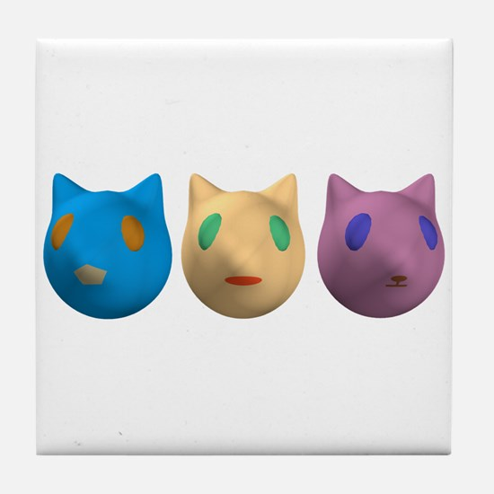3 Alien Cats Tile Coaster