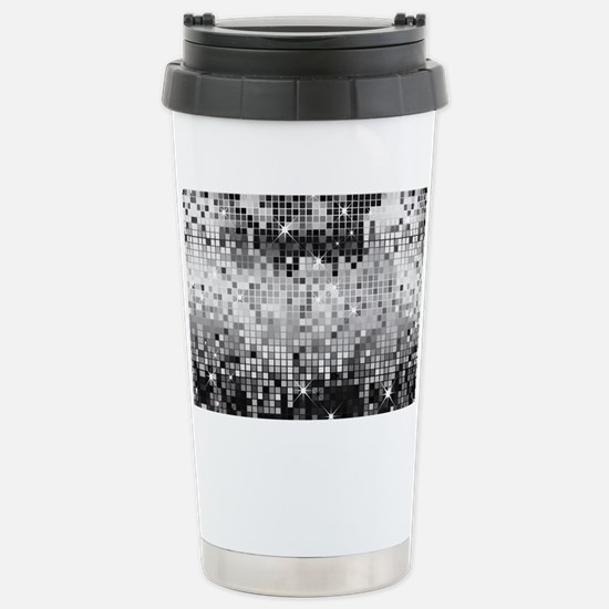 Disco Mirrors in Black  Stainless Steel Travel Mug