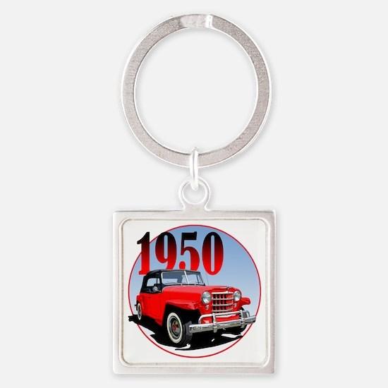 1950 Redjeepster Square Keychain