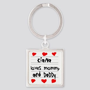 Kiana Loves Mommy and Daddy Square Keychain