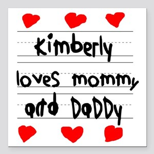"""Kimberly Loves Mommy and Square Car Magnet 3"""" x 3"""""""