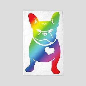 French Bulldog Love Cartoon RAINBOW 3'x5' Area Rug