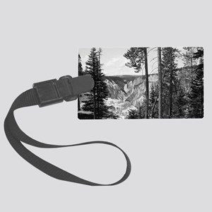 Yellowstone Falls Black and Whit Large Luggage Tag