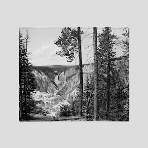 Yellowstone Falls Black and White Throw Blanket