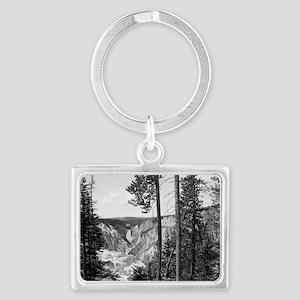 Yellowstone Falls Black and Whi Landscape Keychain