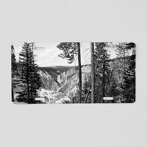 Yellowstone Falls Black and Aluminum License Plate