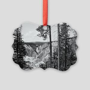 Yellowstone Falls Black and White Picture Ornament