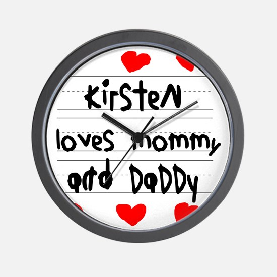 Kirsten Loves Mommy and Daddy Wall Clock