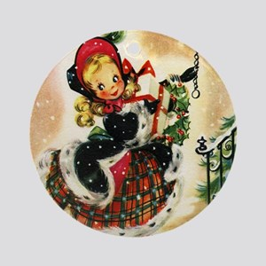 Vintage Christmas Girl Round Ornament