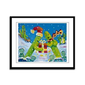 'Saguaro Holiday' Framed Panel Print