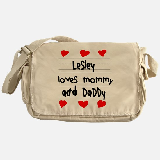 Lesley Loves Mommy and Daddy Messenger Bag