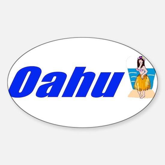Oahu, Hawaii Oval Decal