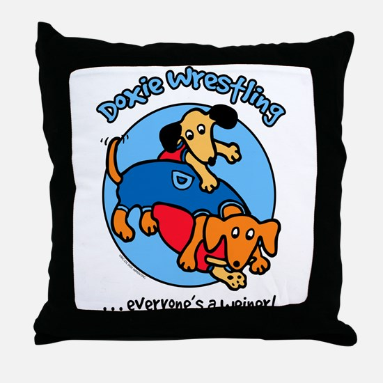 Doxie Wrestling Throw Pillow