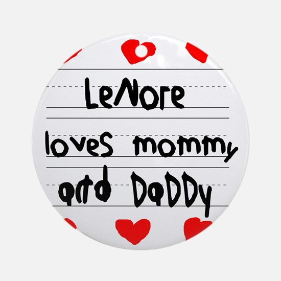 Lenore Loves Mommy and Daddy Round Ornament