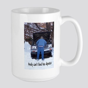 Andy can't find his dipstick Large Mug