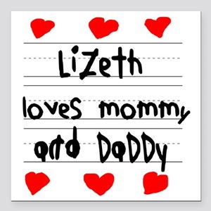"Lizeth Loves Mommy and D Square Car Magnet 3"" x 3"""