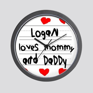 Logan Loves Mommy and Daddy Wall Clock