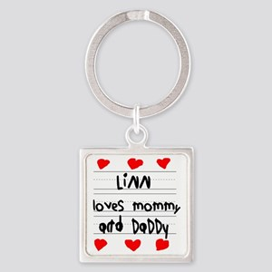 Linn Loves Mommy and Daddy Square Keychain