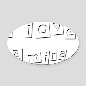 I Love Amira Oval Car Magnet